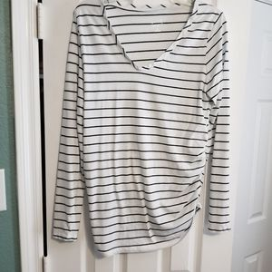 Striped long sleeved maternity shirt